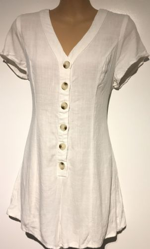 NEW LOOK WHITE BUTTONED COTTON PLAYSUIT SIZE 8